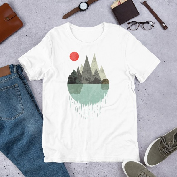 T-Shirt Geometric Graphic design - Mountains Lake Sun 2