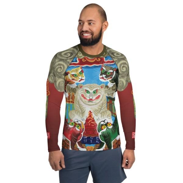 BJJ Men's Rash Guard Five God Tigers in Eastern Culture 1