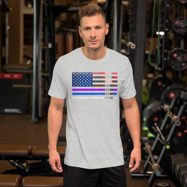 BJJ T-Shirt  for men - BJJ belts and stripes in American Flag 5