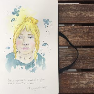 Self-portrait in ink and watercolor