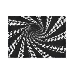 Op Art Optical Illusion Striped Houndstooth Rug Floor Mat Black White