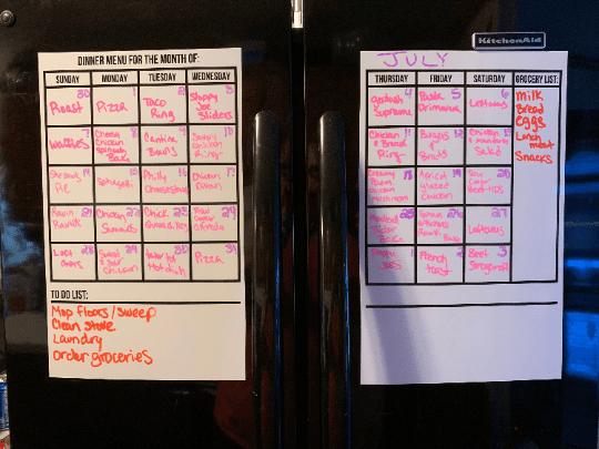 Menu Calendar - Dual Photo