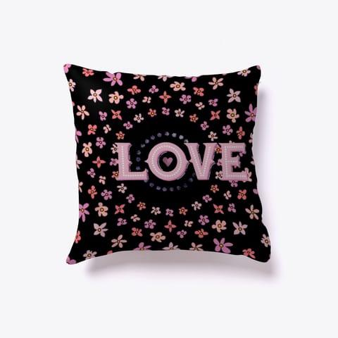 Floral Love Throw Pillow Black
