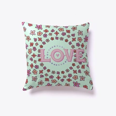 Floral Love Throw Pillow Mint