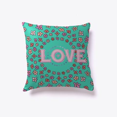 Floral Love Throw Pillow Teal