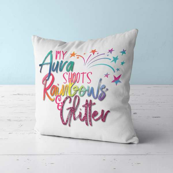 Aura Shoots Rainbows Throw Pillow