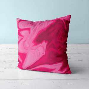 Red Pink Marble Throw Pillow