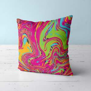 Psychedelic Marble Throw Pillow