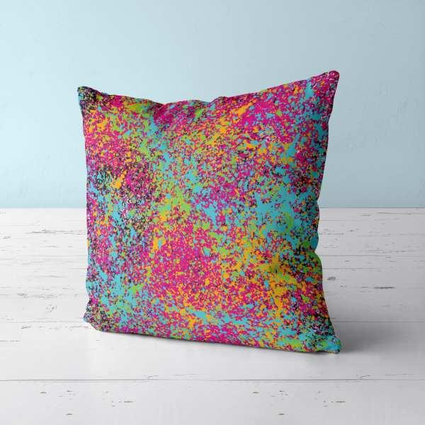 Psychedelic Splatter Throw Pillow