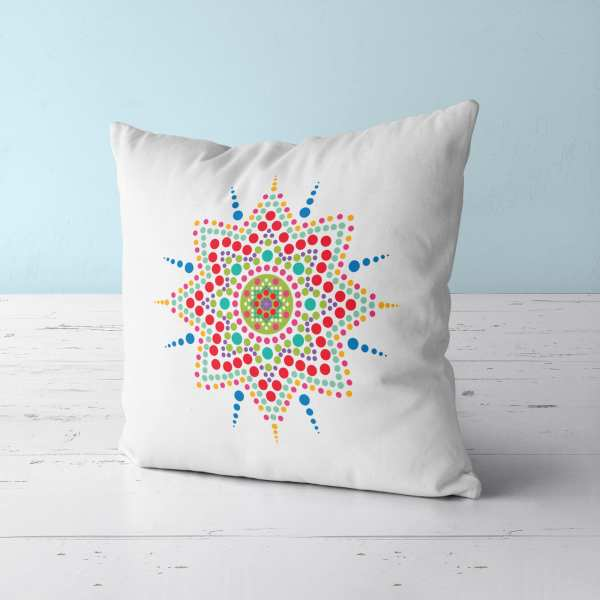 Dot Mandala Throw Pillow