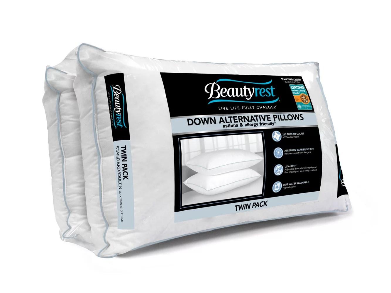 beautyrest down alternative standard queen size pillow 2 pk