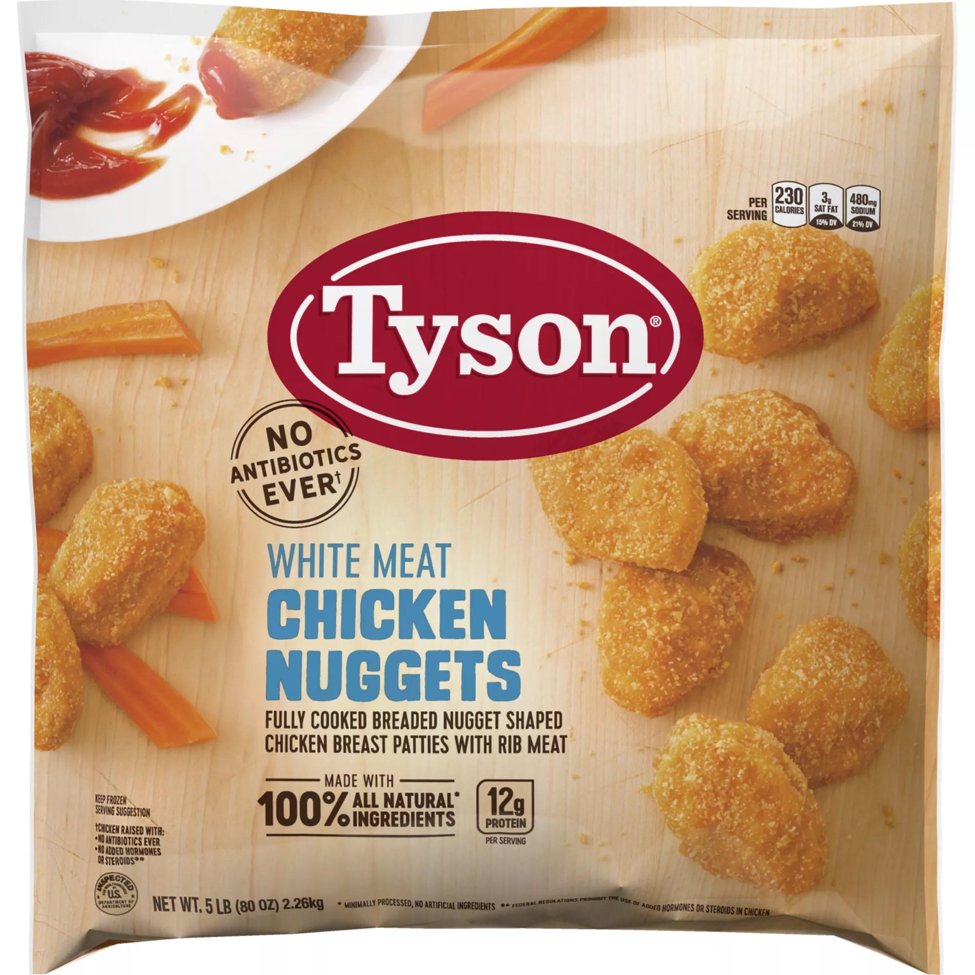 tyson frozen all natural white meat chicken nuggets 5 lbs