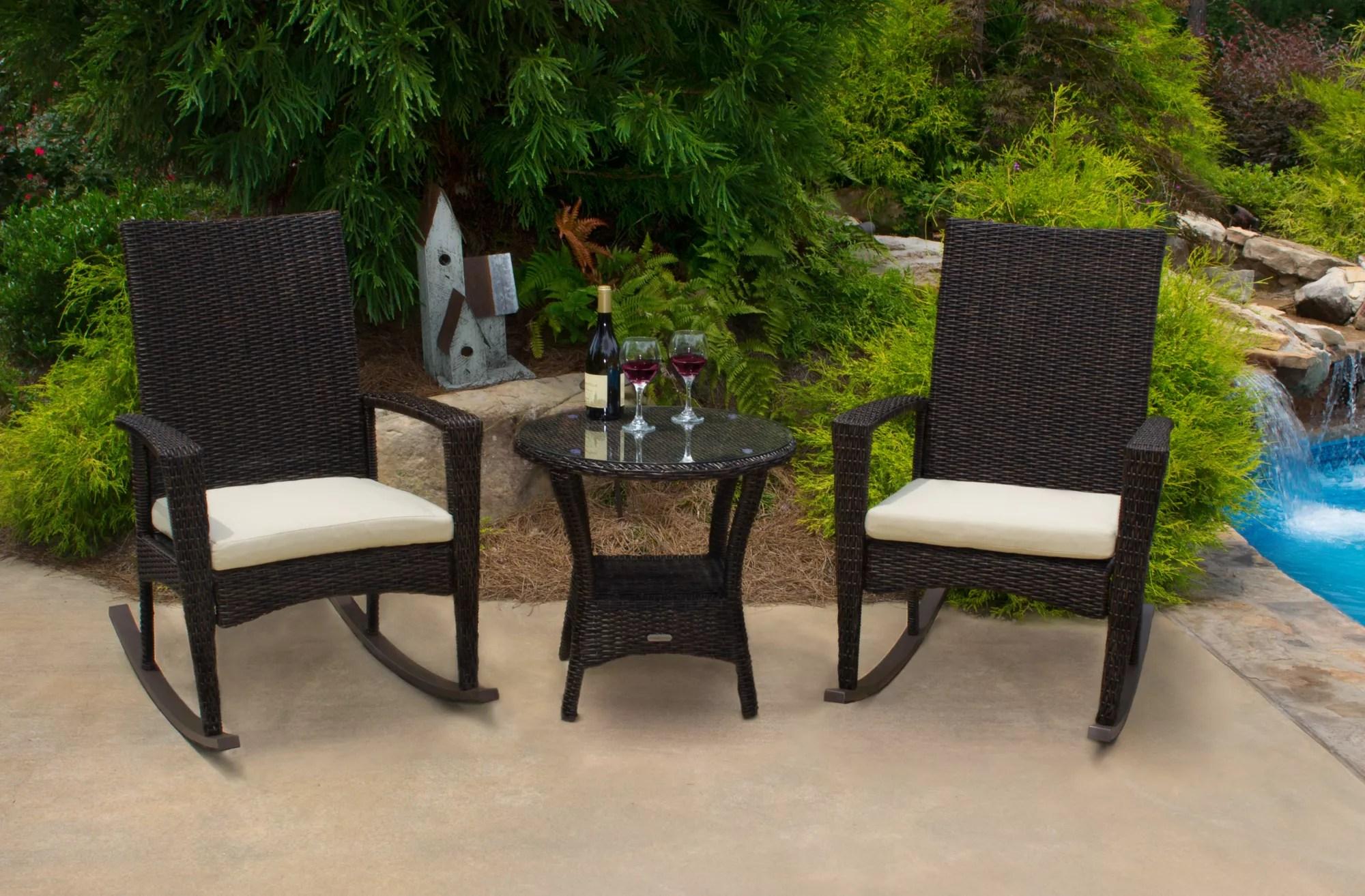 tortuga outdoor bayview 3 pc rocking chair set pecan