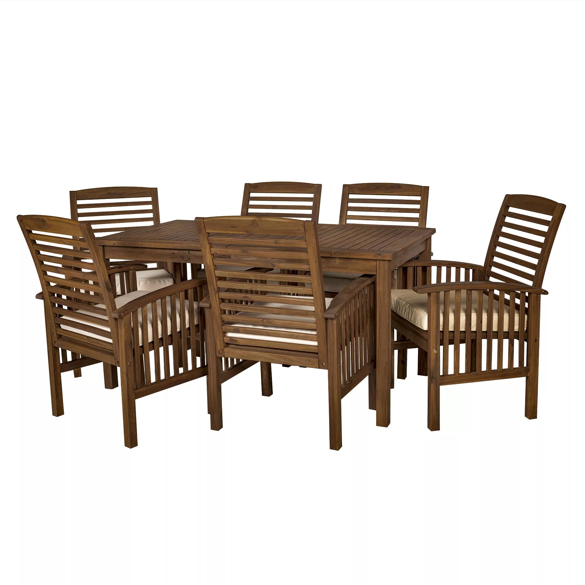 w trends 7 pc outdoor cliff acacia wood dining set brown