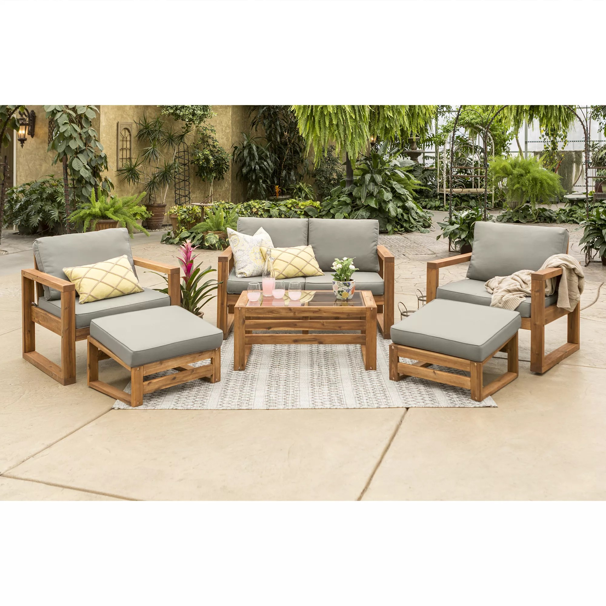 w trends outdoor arbor acacia wood 6 pc chat set