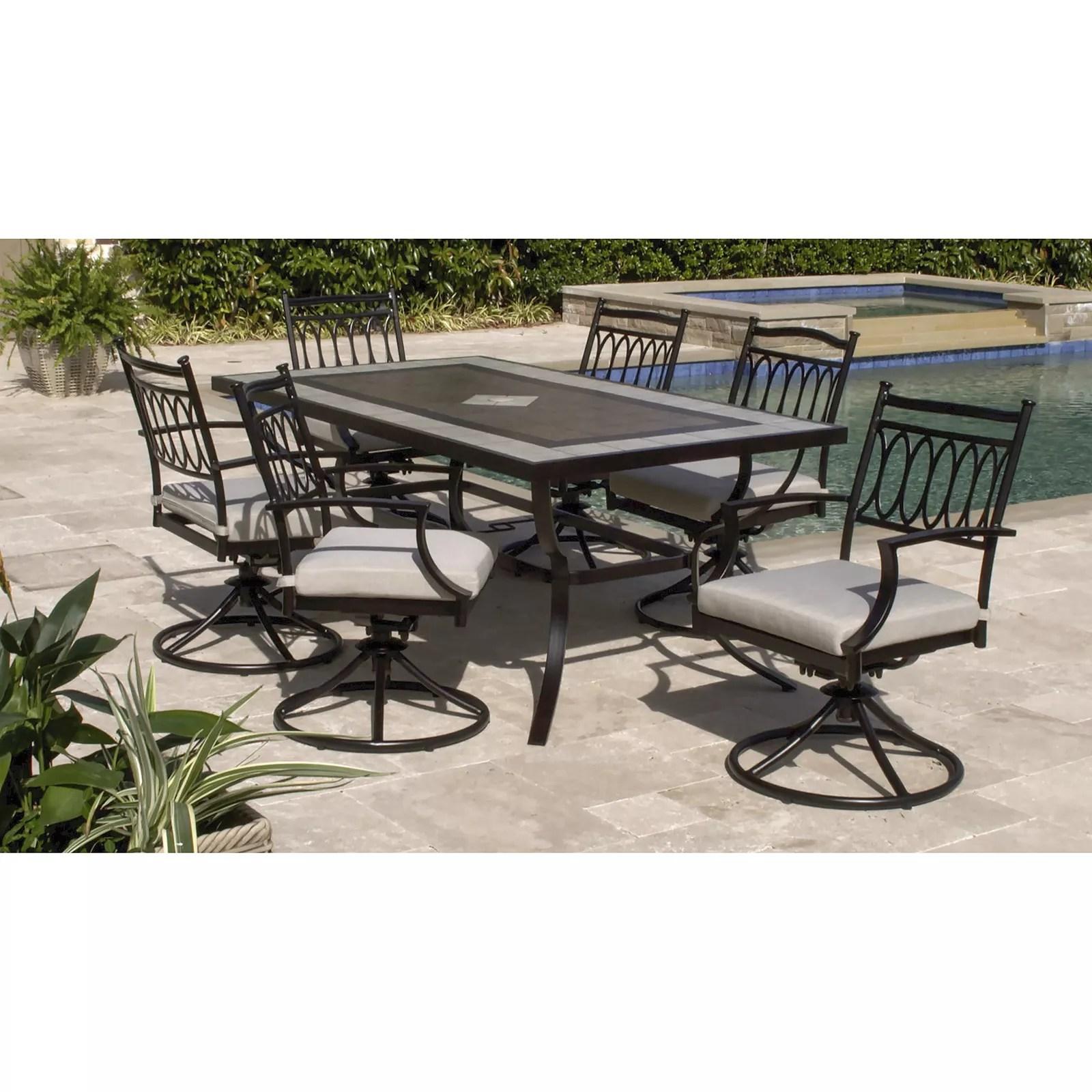 berkley jensen cape may 7pc aluminum dining set with swivel chairs