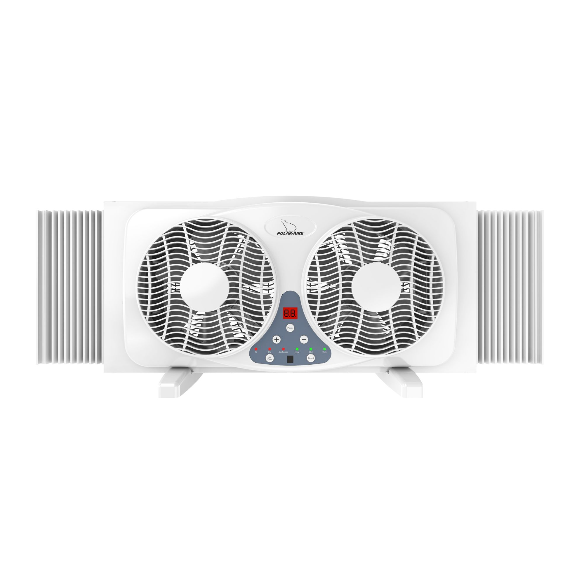 polar aire 9 digital twin window fan with reversible airflow blades and remote control