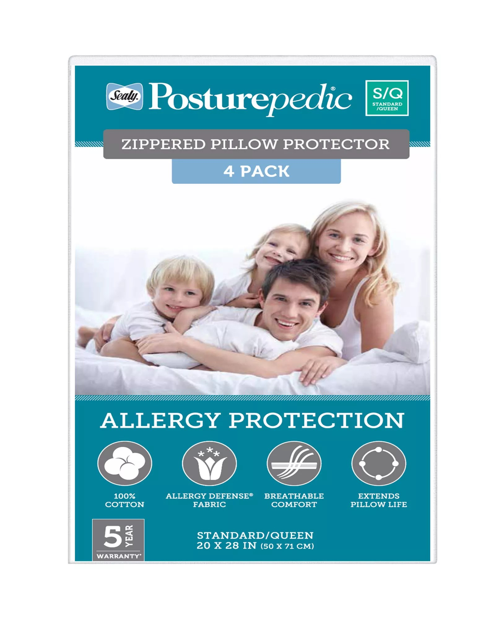 sealy posturepedic standard queen size zippered pillow protector 4 pk