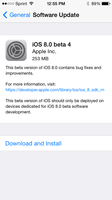 Apple iOS 8 Beta 4