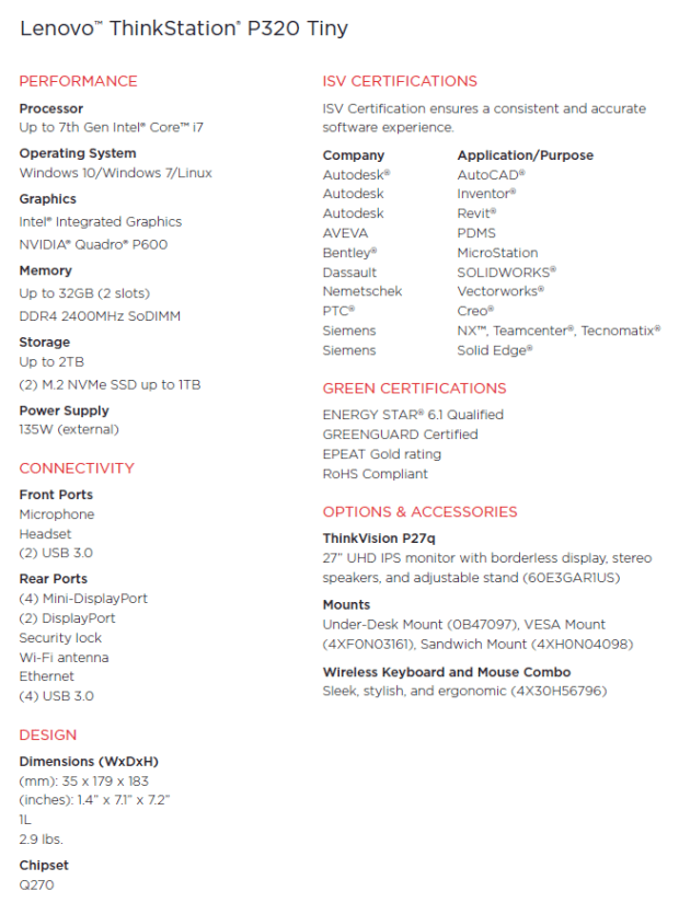 Lenovo ThinkStation P320 Tiny Specs