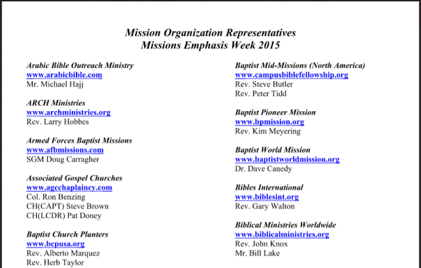Missions Emphasis Week 2015