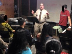 Ted Anderson teaching young people in 2015