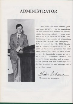 Ted Anderson's message to students in the CCS yearbook [click to enlarge]