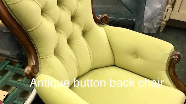 Antique button back chair