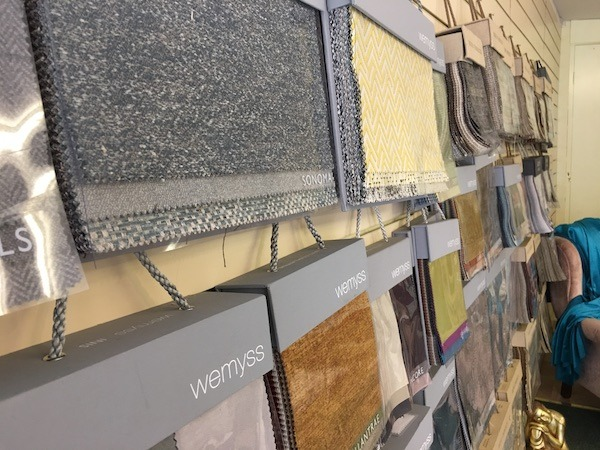 Fabrics on wall
