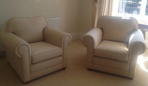 Pair of re-upholstered chairs