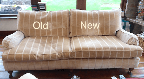 Sofa half replaced seat foams