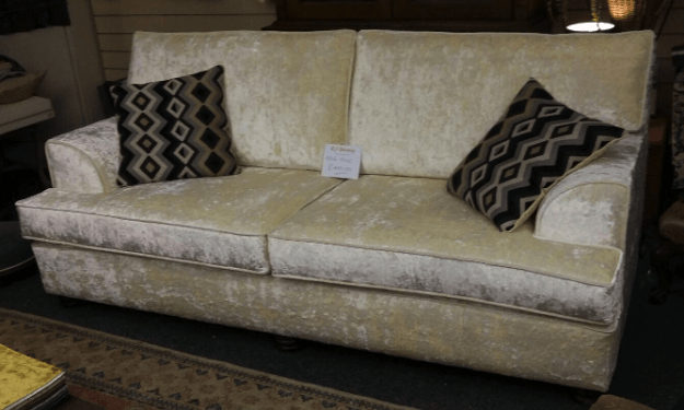 Reupholstered in Linwood crushed velvet.