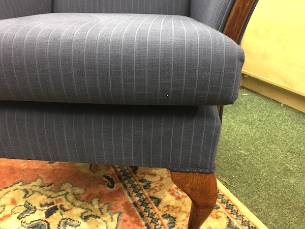 Wing chair-blue cushion