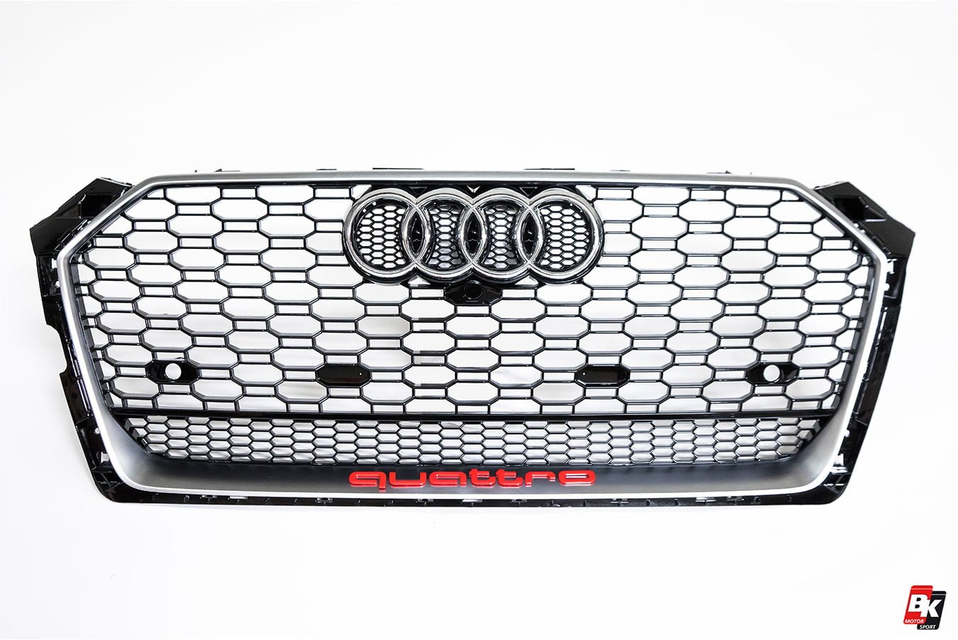 BKM Front Grille with Silver Frame (RS5 Style), fits Audi