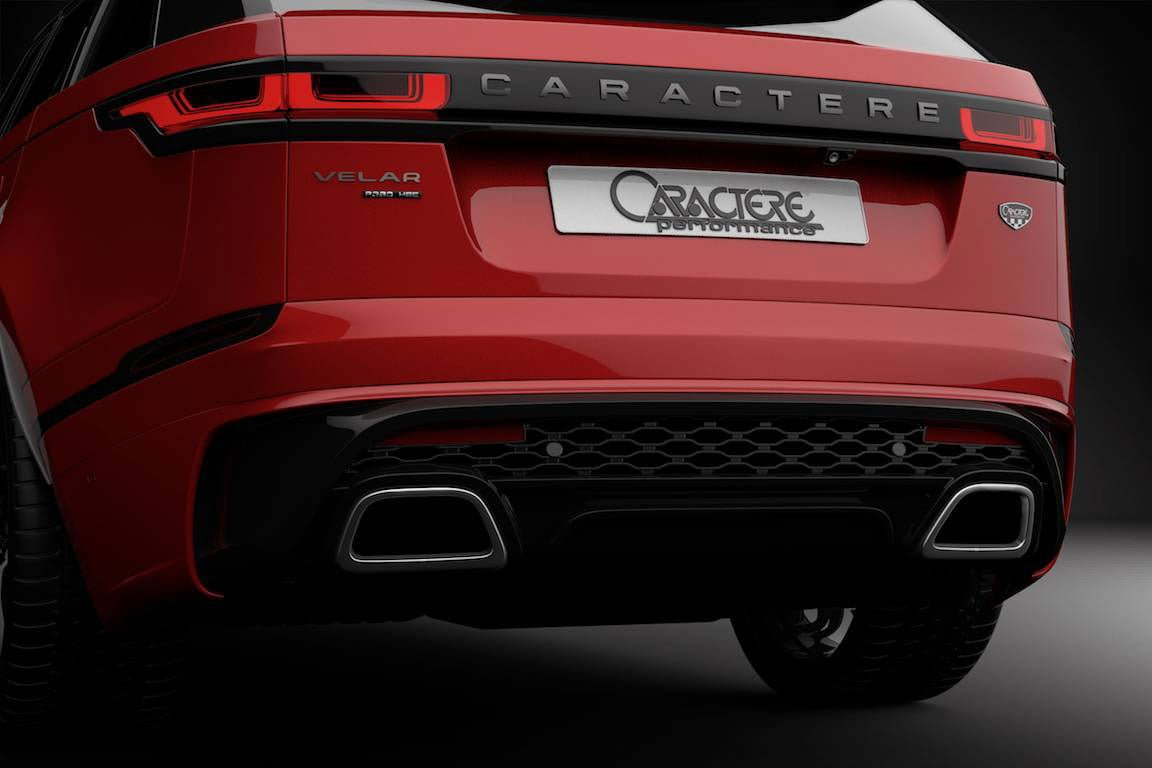 caractere rear bumper with two exhaust tips fits range rover velar