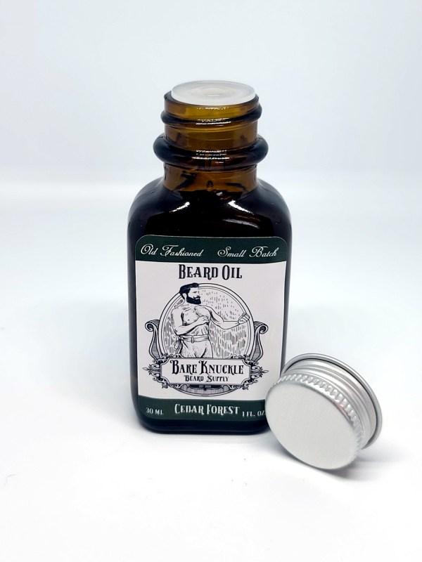 Cedar Forest Beard Oil Open Cap