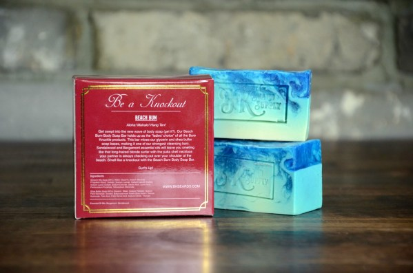 Beach Bum Artisan Body Soap with Back of Box