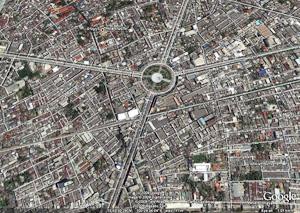 King Taksin Statue from Google Earth
