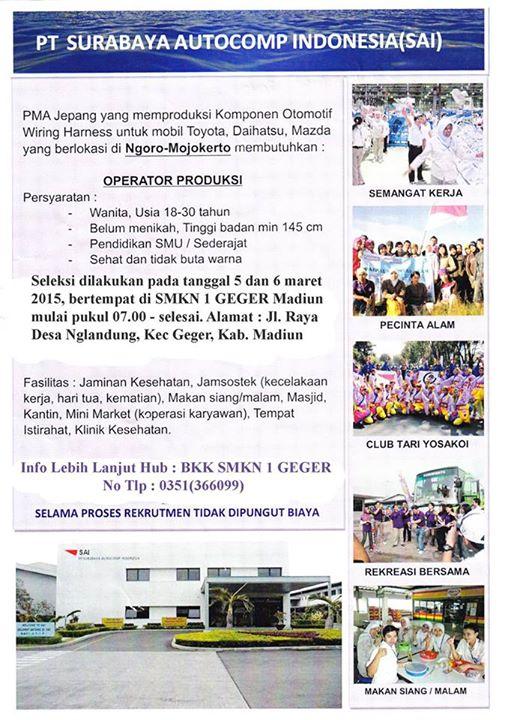 Pt Sai Mojokerto : mojokerto, Lowongan, Kerja, Surabaya, Autocomp, Indonesia, (SAI), NEGERI, GEGER