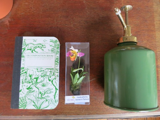 Goodies! Dinosaur decomposition notebook, Lady Slipper magnet hand made by women in Thailand, and a plant mister.