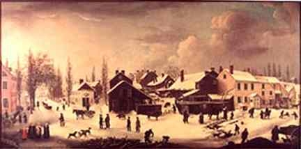 This 1853 painting, Winter Scene in Brooklyn, by Louisa Ann Coleman, depicts Brooklyn, just east of Fulton Ferry, as it was in the mid-1820s.