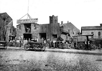 In 1860, Vandergaw was at the junction of Fulton Street and DeKalb Avenue, probably where the Dime Savings Bank stands today.