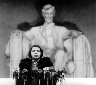 Marian Anderson Stands In Front the Lincoln Memorial.