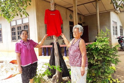 Thai People Hang Red Shirts to Ward Off Ghosts
