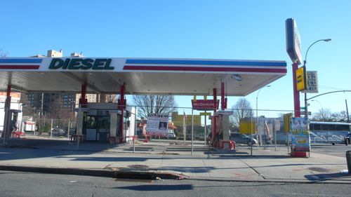 Shuttered gas station at 43 Empire Boulevard