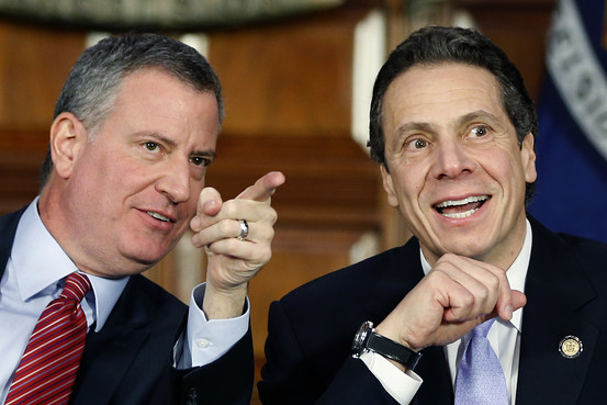 New York City Mayor Bill de Blasio and New York Gov. Andrew Cuomo at during a news conference Monday.  Photo: AP