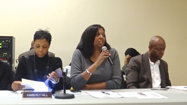 Oma Holloway, first vice chair of Community Board 3, chaired Monday's meeting