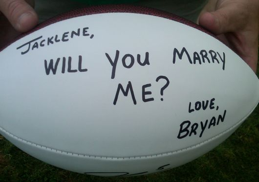 Proposing with a football