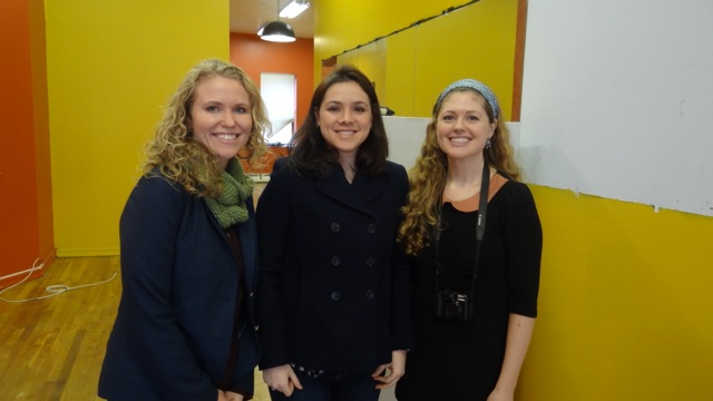 Marie Clevering, Maria Sigourney and Jessica Alonso, inside the Crown Heights storefront which will be transformed into The Stomping Ground