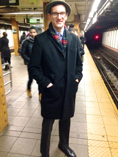 Meet Ben Wells from Williamsburg. We got this dapper young fella at 14th St/Union Sq station waiting for the L Train to Brooklyn